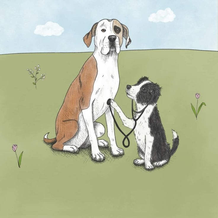 Drawing of 2 Earth Rated office dogs, one is dressed as a doctor and evaluating the other with a stethescope