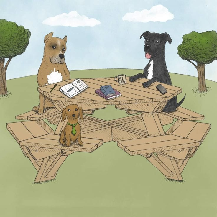 Drawing of 3 Earth Rated office dogs around a round picnic table reading books and drinking coffee