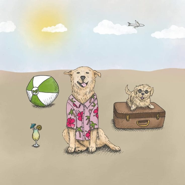 Drawing of 2 Earth Rated office dogs, both relaxing under the sun next to a cocktail, a suitcase and a beach ball